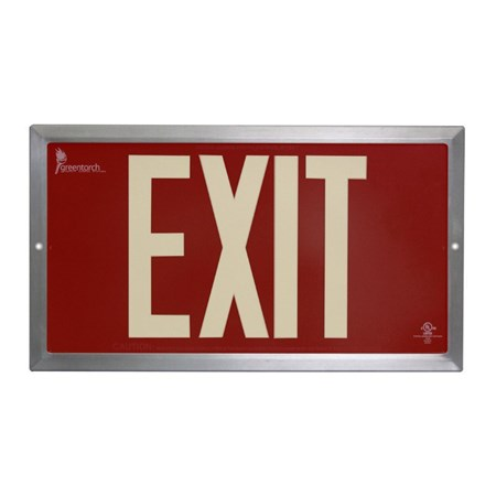 50' PL DOUBLE EXIT, RED STROKE, EXTRUDED FRAME