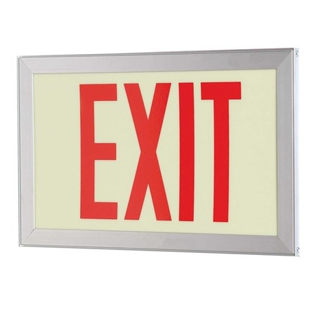 75' PL DOUBLE EXIT, RED STROKE, EXTRUDED FRAME
